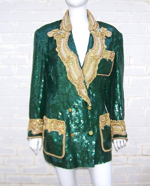 1980's Glam Emerald Sequin Boyfriend Jacket With Amazing Gold Braid 2