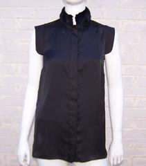 2014 Riccardo Tisci for Givenchy Black Silk Top With Removable Mink Collar