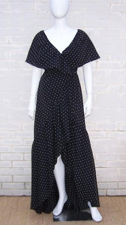 Free Spirited 1970's Halston Swiss Dot Wrap Dress 2