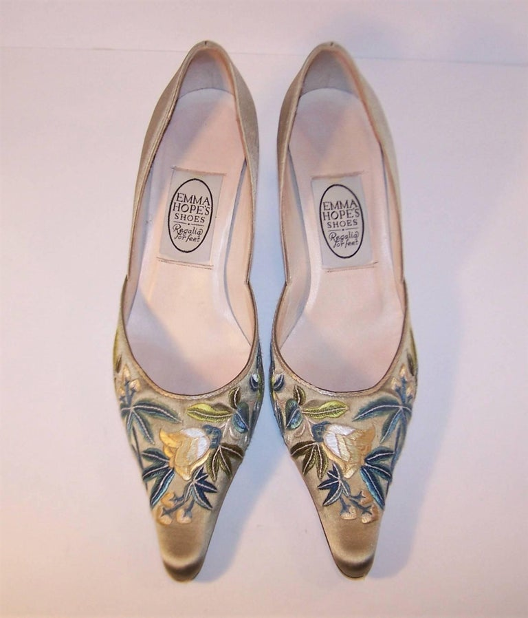 Emma Hope Embroidered Satin Kitten Heel Shoes Sz 38 1/2 3