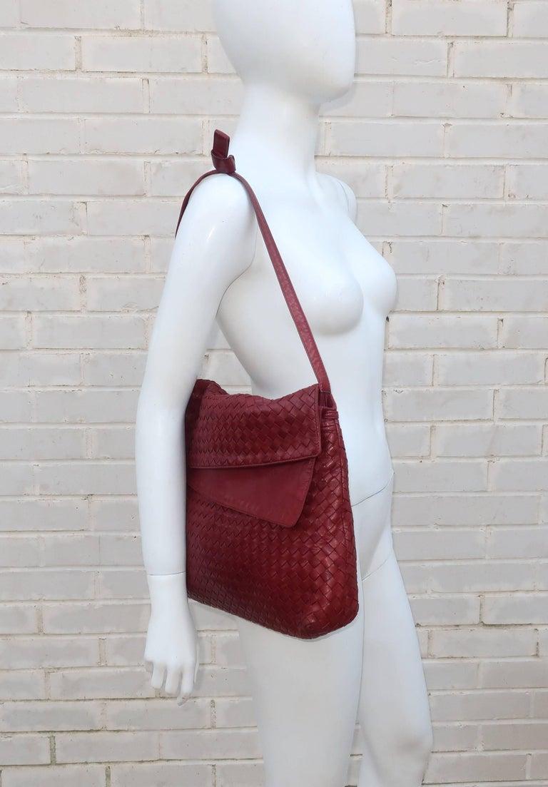 Brown Vintage Bottega Veneta Burgundy Intrecciato Leather Shoulder Handbag For Sale