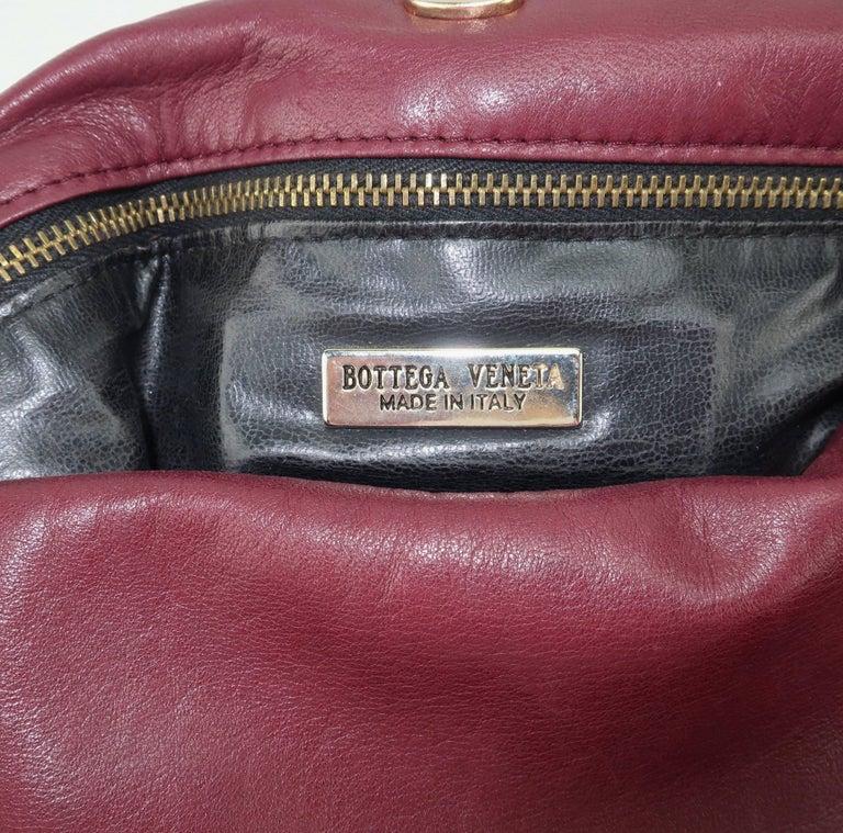 Vintage Bottega Veneta Burgundy Intrecciato Leather Shoulder Handbag For Sale 5