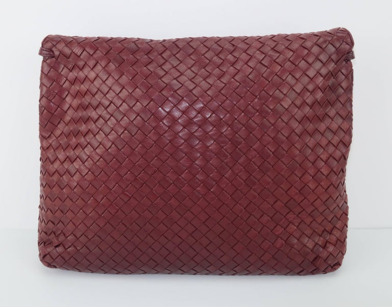 Vintage Bottega Veneta Burgundy Intrecciato Leather Shoulder Handbag 5