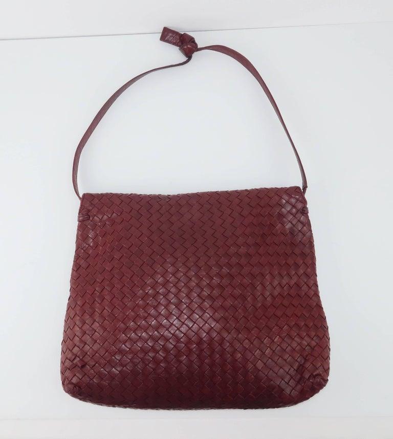 Vintage Bottega Veneta Burgundy Intrecciato Leather Shoulder Handbag 2