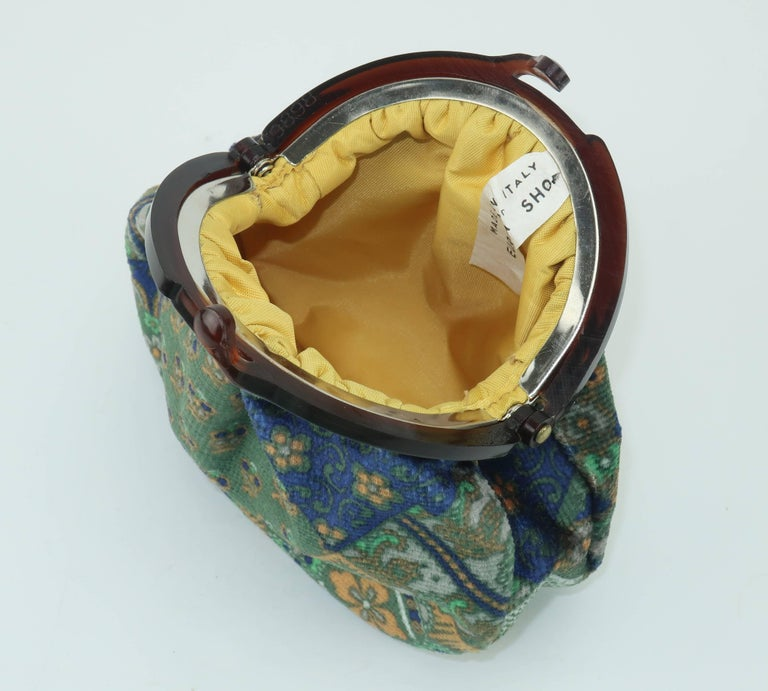 Vintage Bohemian Italian Velvet Jewelry Pouch For Sale 4