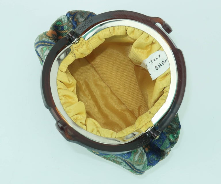 Vintage Bohemian Italian Velvet Jewelry Pouch For Sale 3