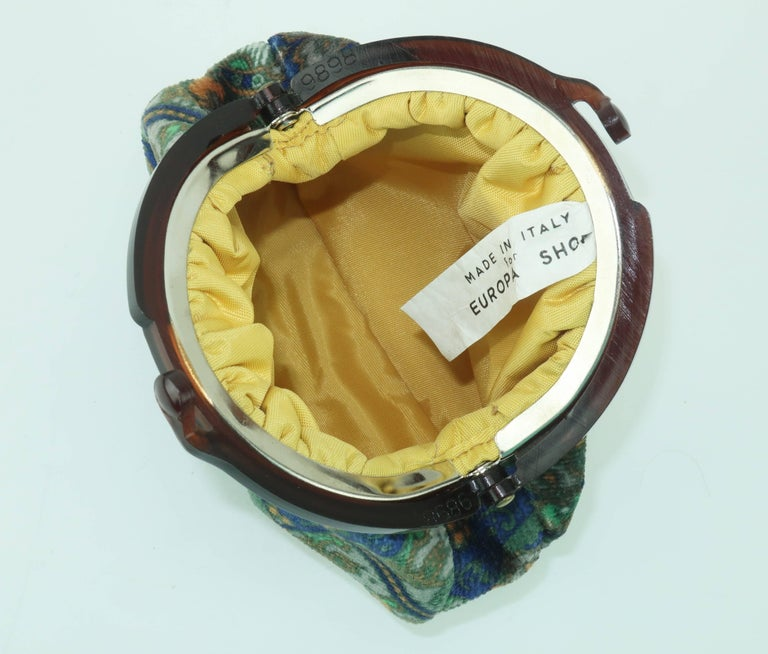 Vintage Bohemian Italian Velvet Jewelry Pouch For Sale 5