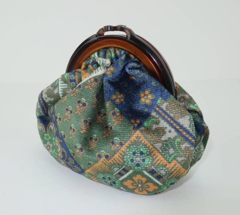 Black Vintage Bohemian Italian Velvet Jewelry Pouch For Sale
