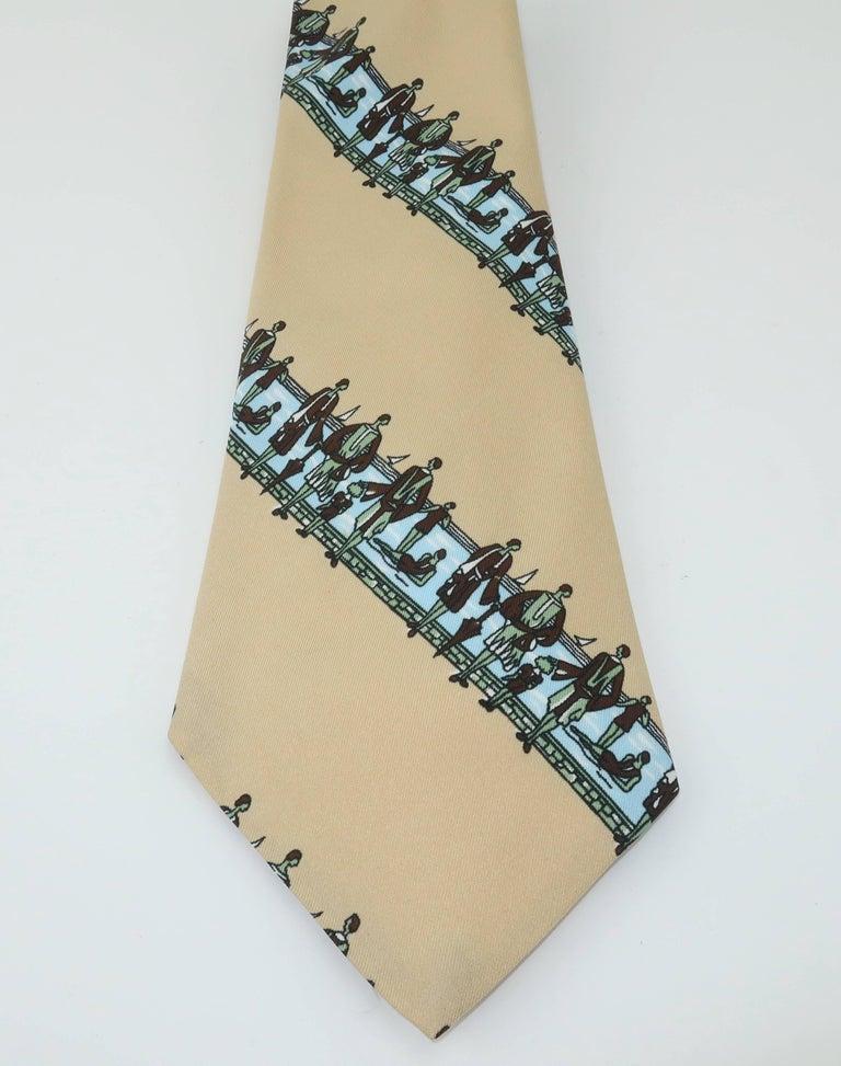 Women's or Men's Circa 1970 Italian Art Deco Revival Men's Wide Necktie For Sale