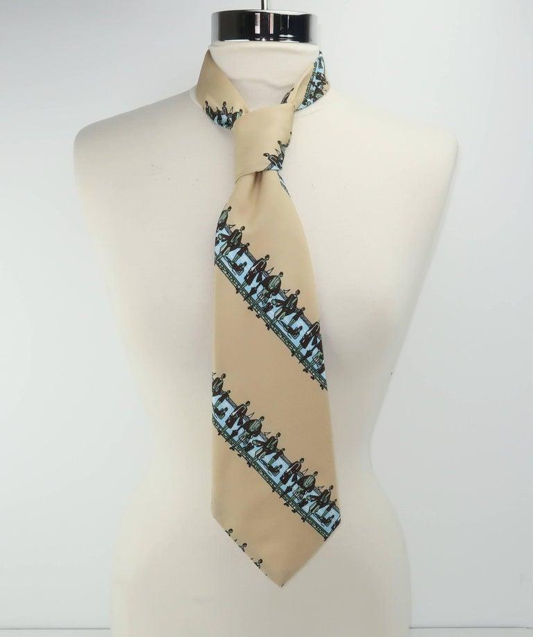 Circa 1970 Italian Art Deco Revival Men's Wide Necktie For Sale 1