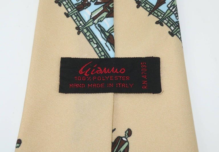 Circa 1970 Italian Art Deco Revival Men's Wide Necktie For Sale 2