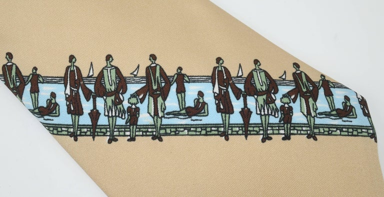 This C.1970 men's polyester necktie by Gianno proves that fashion can be fun ... as if there were ever a doubt!?  The extra wide necktie silhouette is the perfect foil for the whimsical art deco revival print depicting flapper style ladies and
