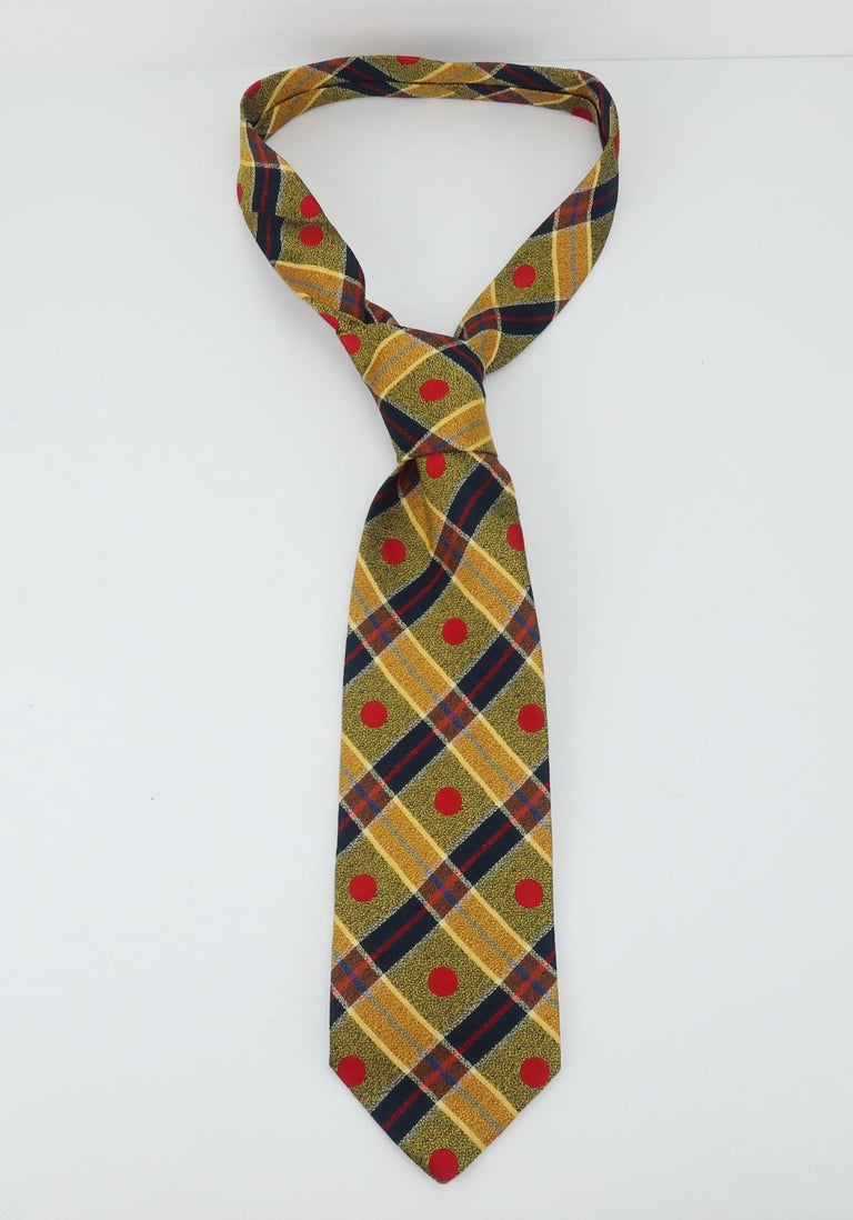 1990's Ungaro Silk Plaid Men's Necktie For Sale 1