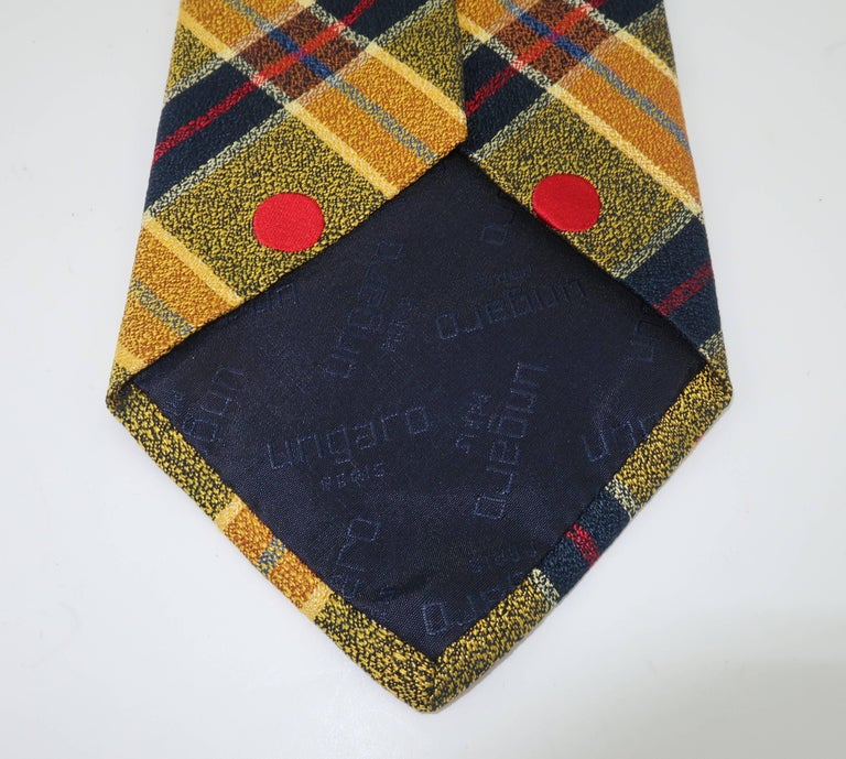 1990's Ungaro Silk Plaid Men's Necktie For Sale 4