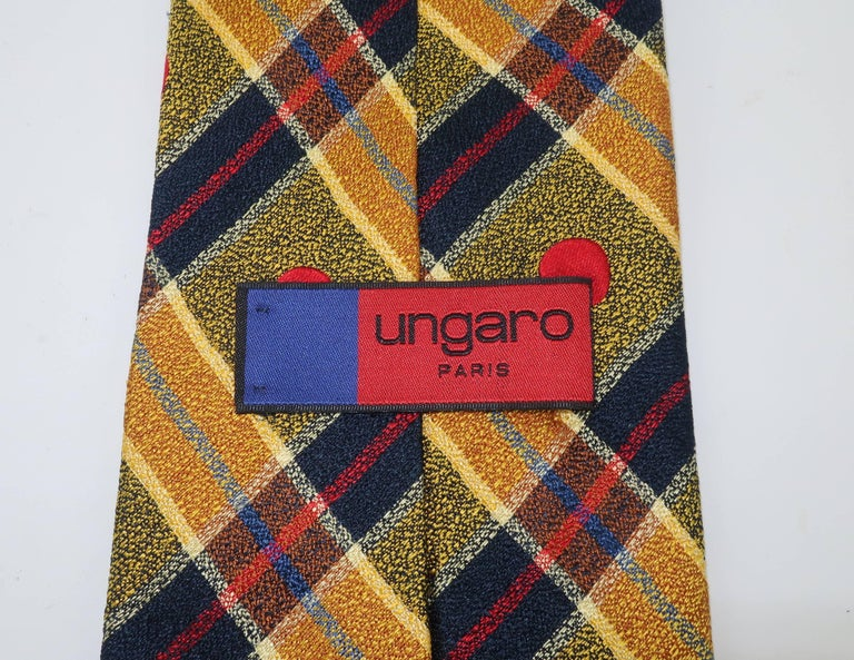 1990's Ungaro Silk Plaid Men's Necktie For Sale 3