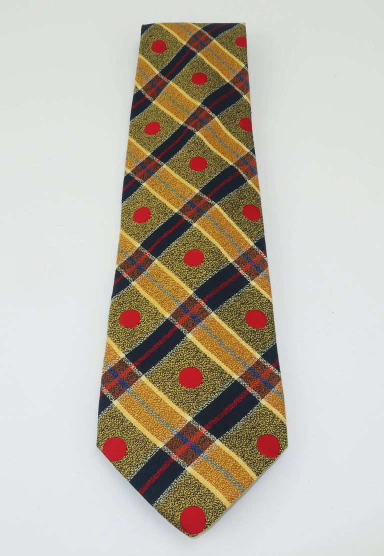 Brown 1990's Ungaro Silk Plaid Men's Necktie For Sale