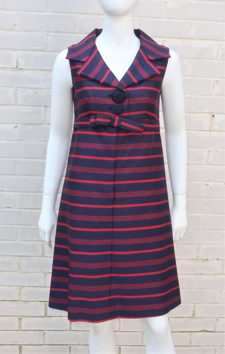 Black 1960's Red & Blue Striped A-Line Dress For Sale