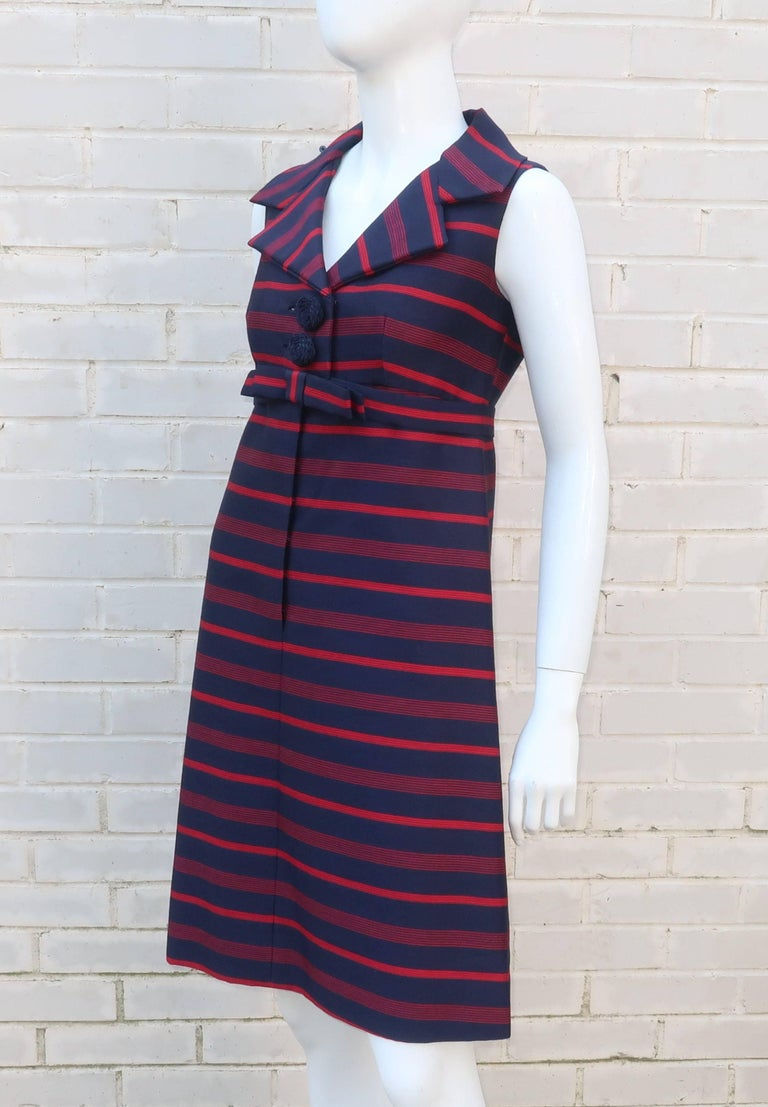 1960's Red & Blue Striped A-Line Dress For Sale 4