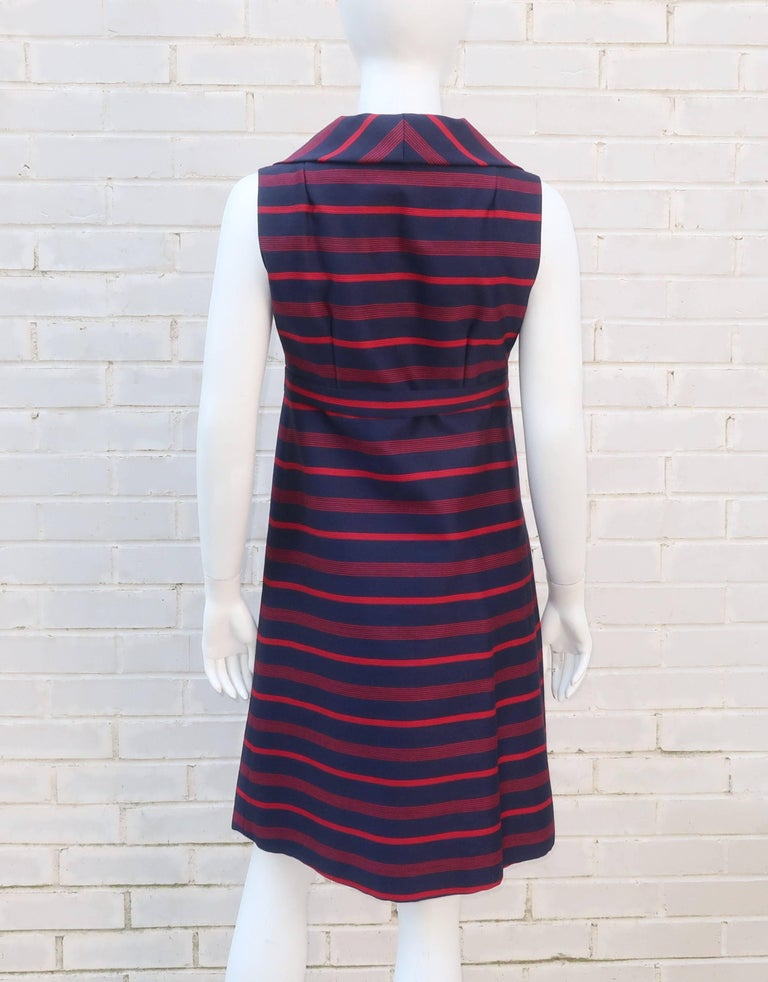 1960's Red & Blue Striped A-Line Dress For Sale 5
