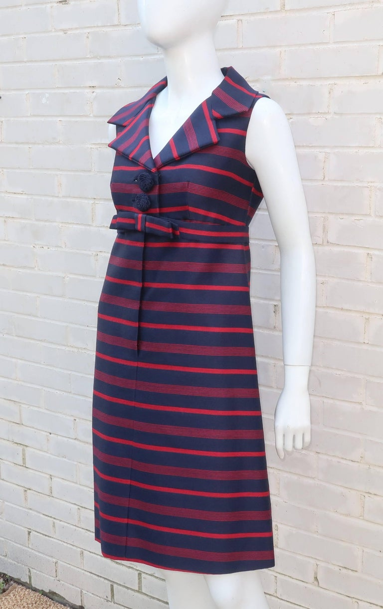 1960's Red & Blue Striped A-Line Dress For Sale 2