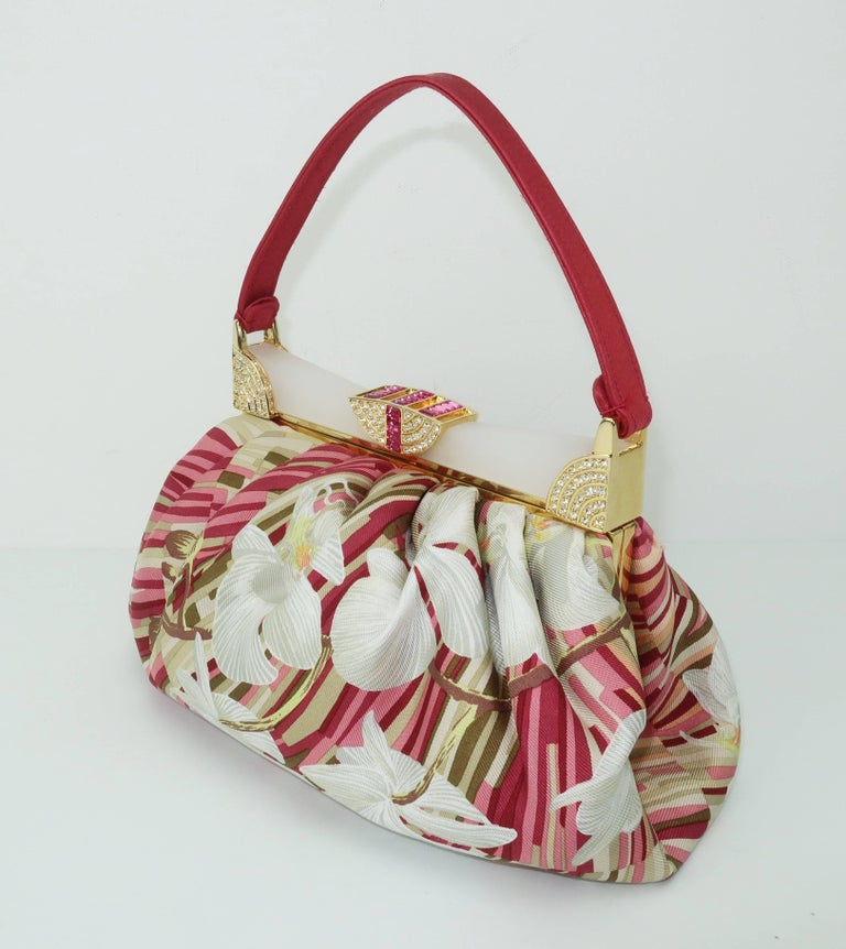 1stdibs Judith Leiber Tropical Silk Handbag With Art Deco Style Frame eh5qzySm3