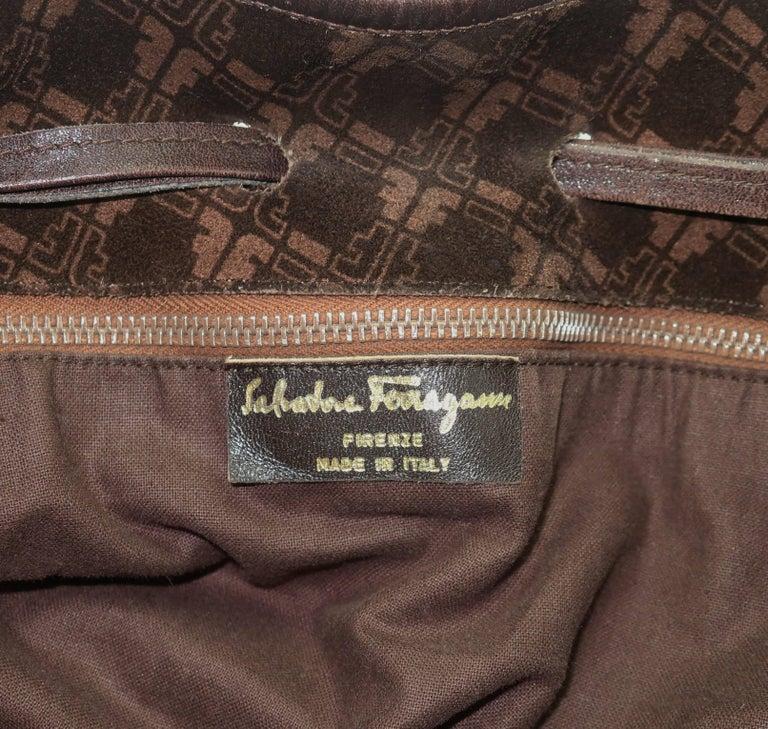 1e5e0067563c Vintage Ferragamo Brown Suede Logo Drawstring Hobo Handbag For Sale ...