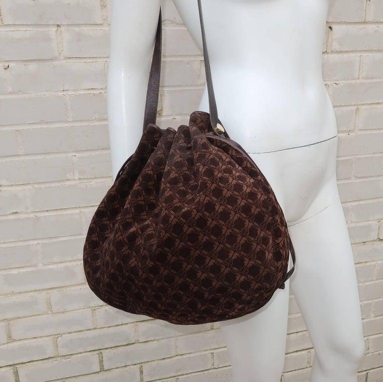 a729c7998a37 Black Vintage Ferragamo Brown Suede Logo Drawstring Hobo Handbag For Sale