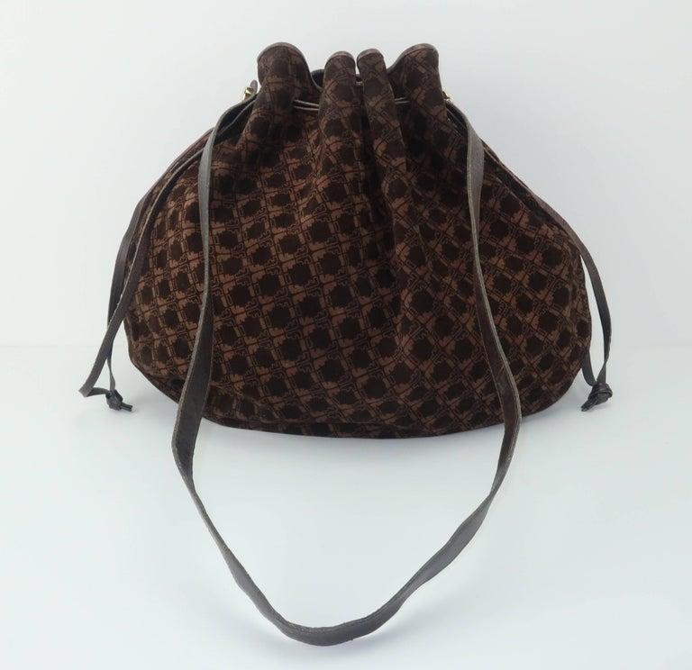 01018145ba9e Vintage Ferragamo Brown Suede Logo Drawstring Hobo Handbag In Good  Condition For Sale In Atlanta