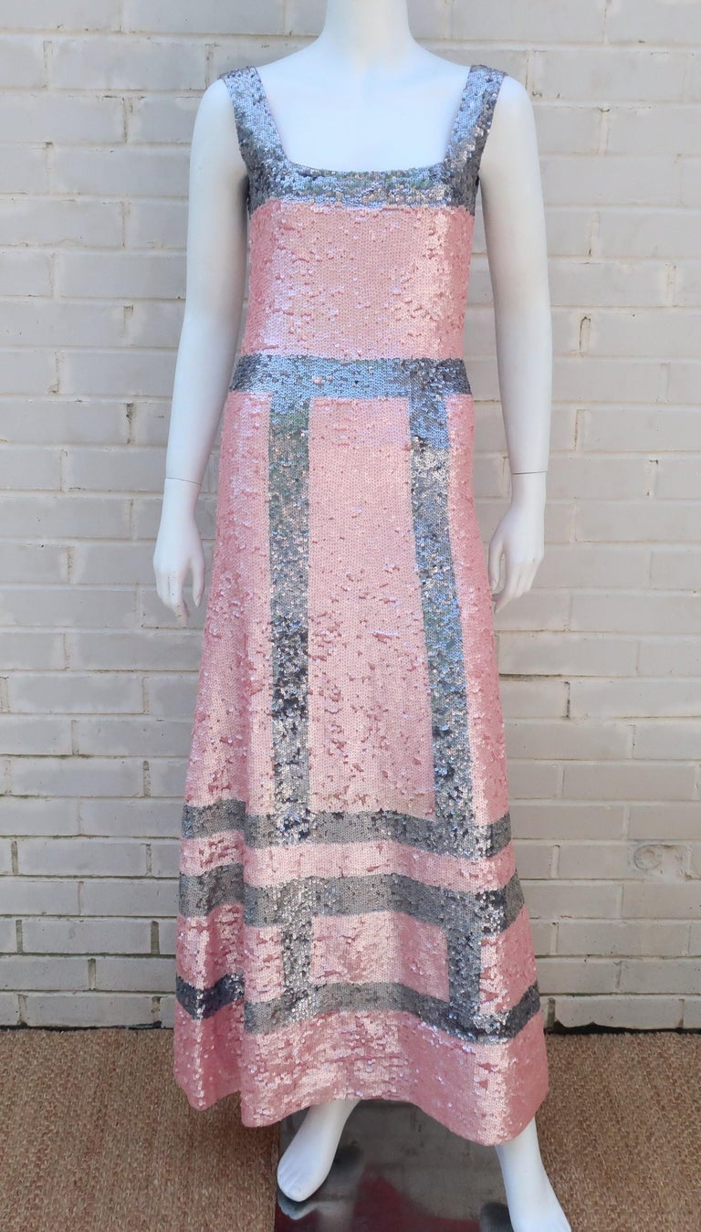 Pink and Silver Fully Sequin Décolleté Maxi Tank Evening Dress In Excellent Condition For Sale In Atlanta, GA