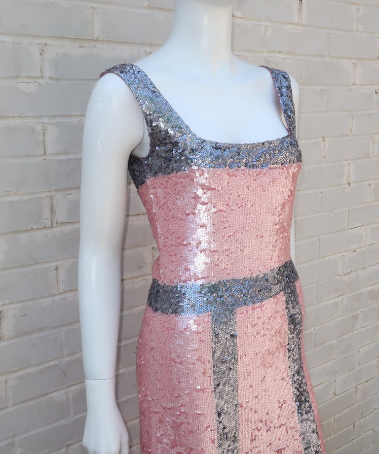 Brown Pink and Silver Fully Sequin Décolleté Maxi Tank Evening Dress For Sale