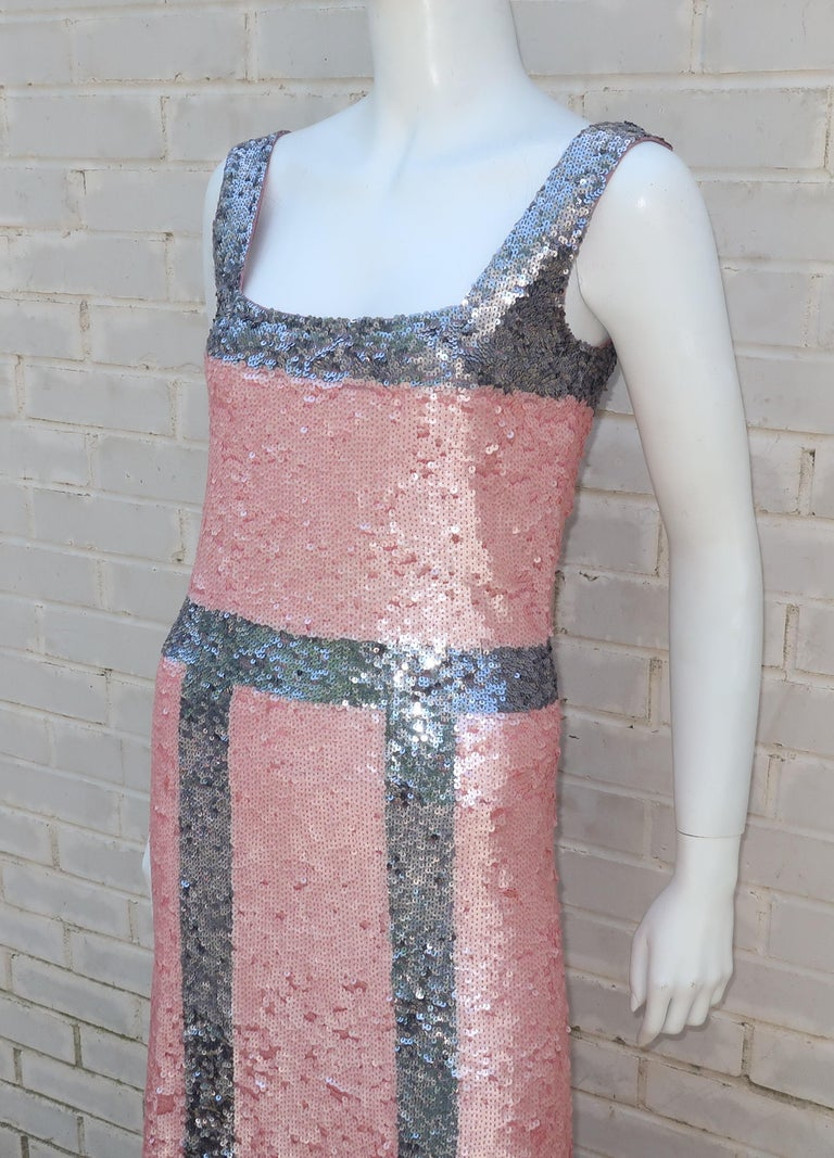 Pink and Silver Fully Sequin Décolleté Maxi Tank Evening Dress For Sale 2
