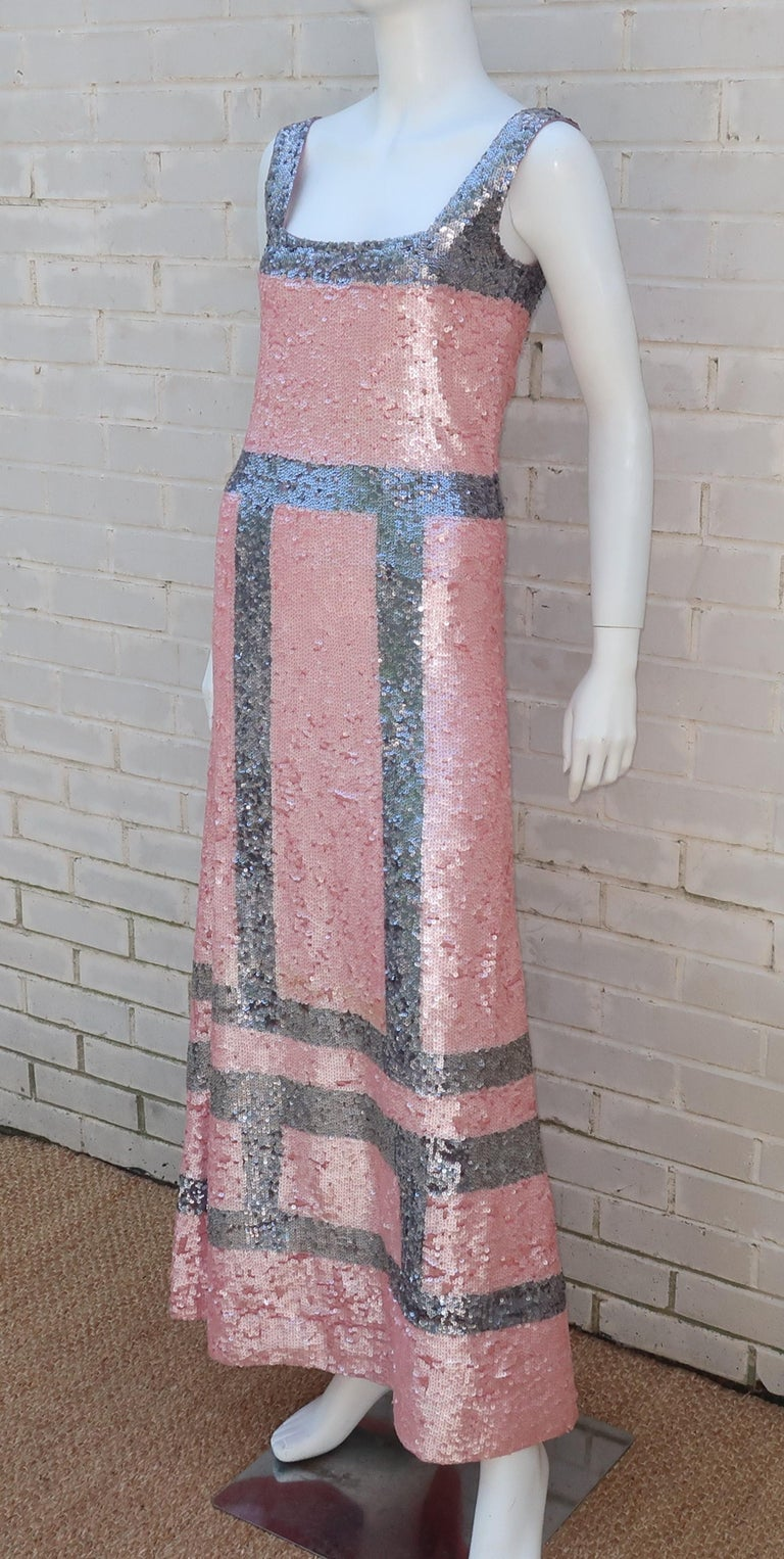 Pink and Silver Fully Sequin Décolleté Maxi Tank Evening Dress For Sale 3
