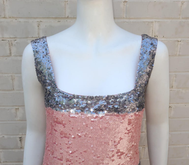 Women's Pink and Silver Fully Sequin Décolleté Maxi Tank Evening Dress For Sale