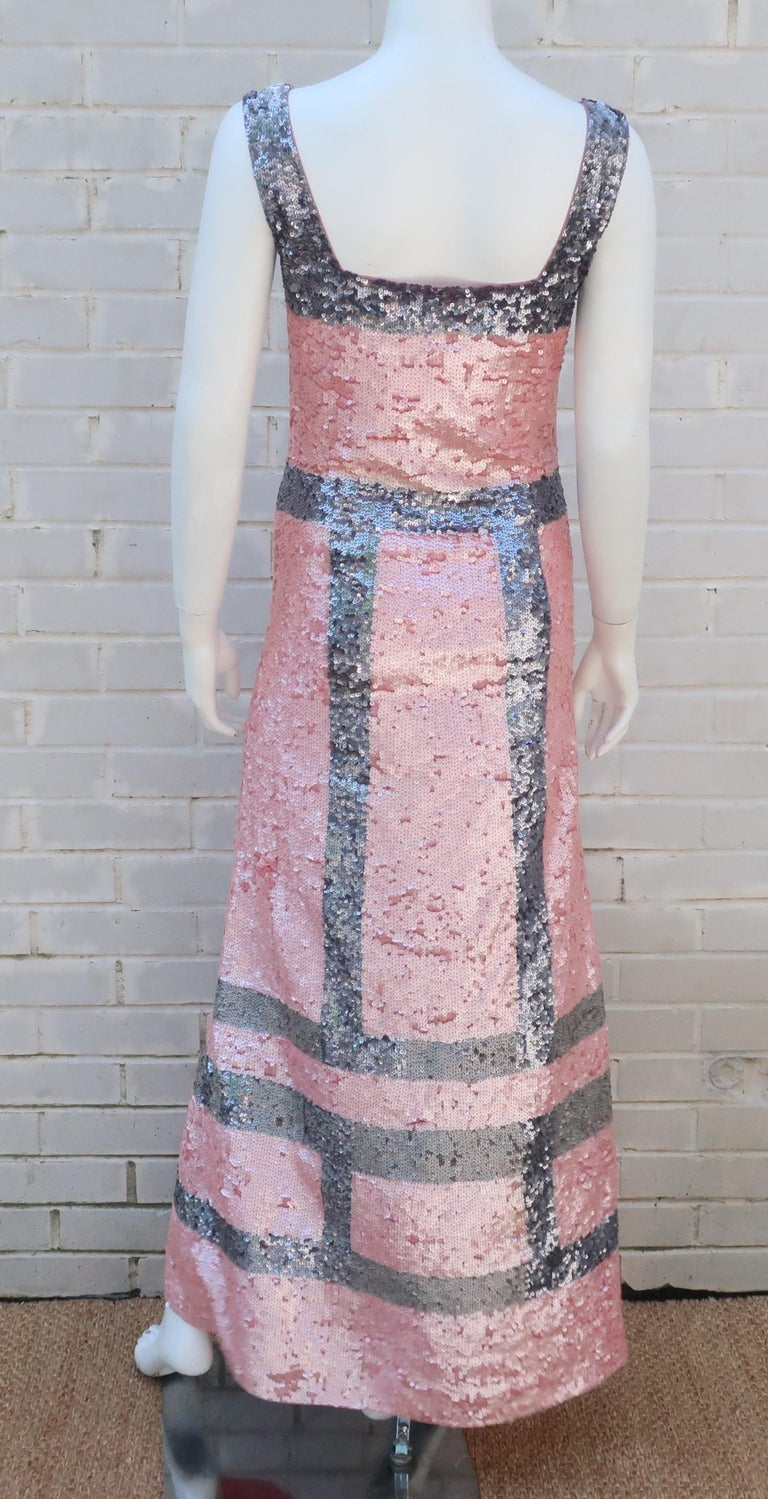 Pink and Silver Fully Sequin Décolleté Maxi Tank Evening Dress For Sale 5