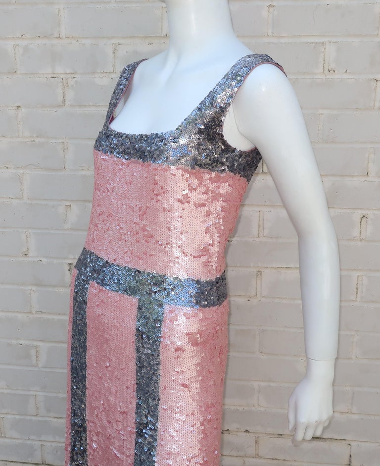 Pink and Silver Fully Sequin Décolleté Maxi Tank Evening Dress For Sale 4