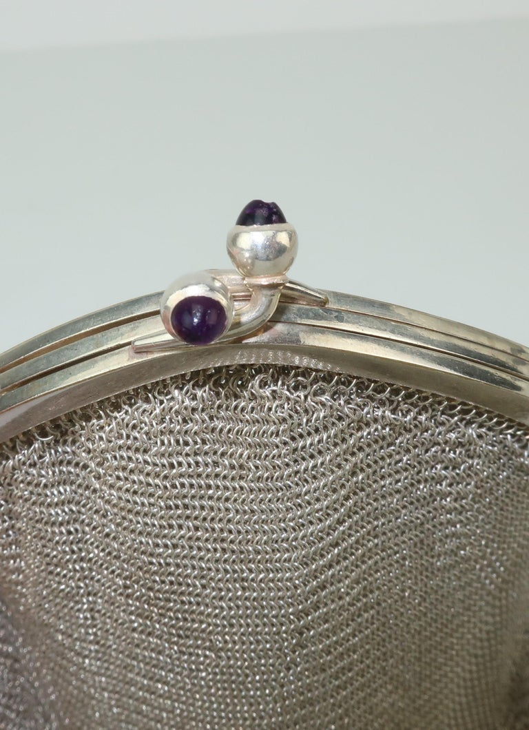 Art Deco 1920's Whiting & Davis Silver Mesh Chain Mail Flapper Handbag For Sale 5