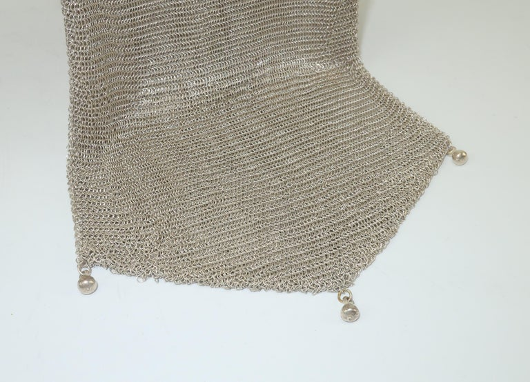 Art Deco 1920's Whiting & Davis Silver Mesh Chain Mail Flapper Handbag For Sale 6
