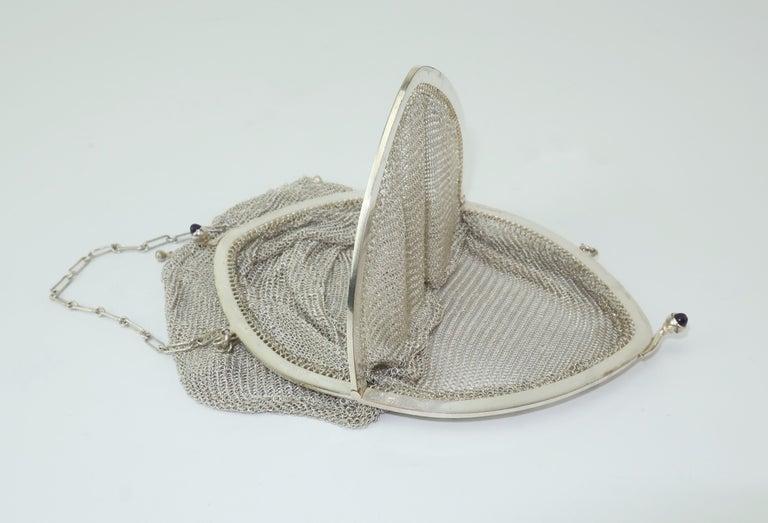 Art Deco 1920's Whiting & Davis Silver Mesh Chain Mail Flapper Handbag For Sale 7