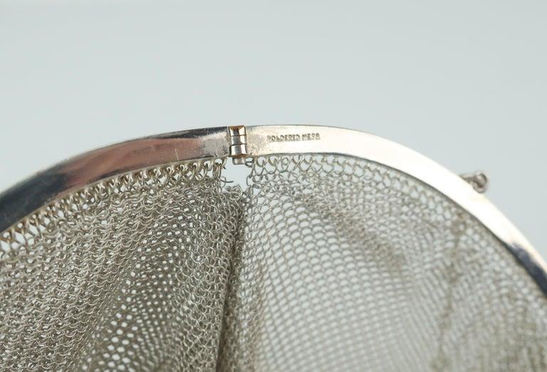 Art Deco 1920's Whiting & Davis Silver Mesh Chain Mail Flapper Handbag For Sale 8
