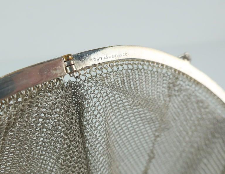 Art Deco 1920's Whiting & Davis Silver Mesh Chain Mail Flapper Handbag For Sale 9