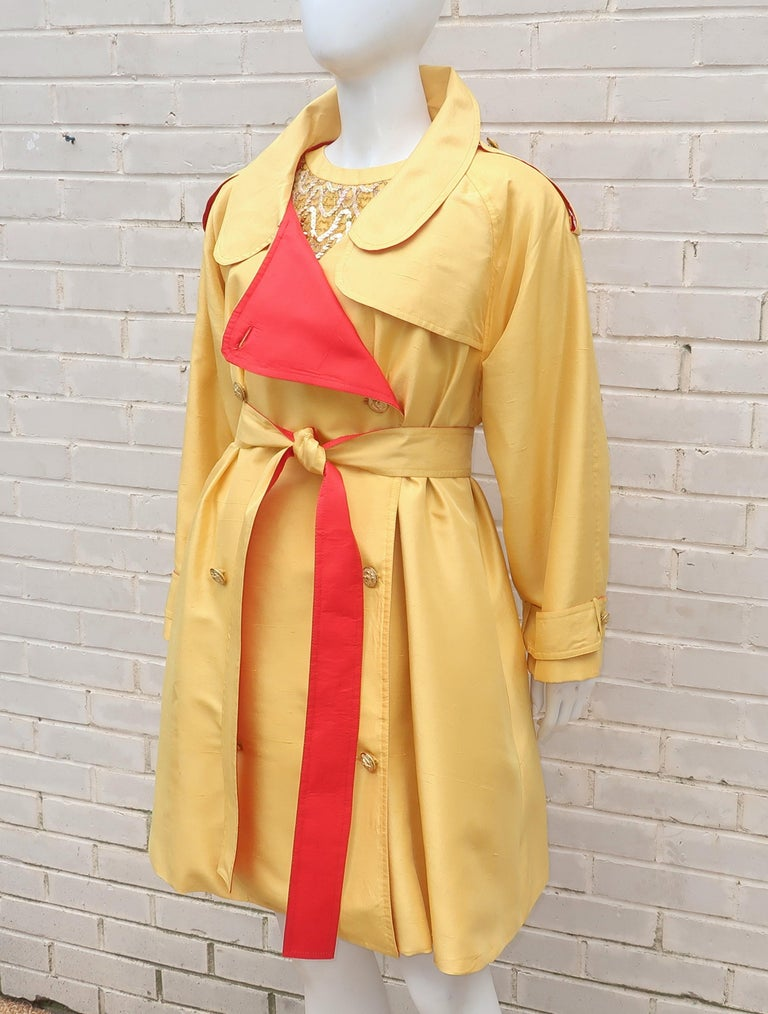 Orange 1980's Yellow & Red Shantung Silk Sequin Dress & Trench Coat Set For Sale