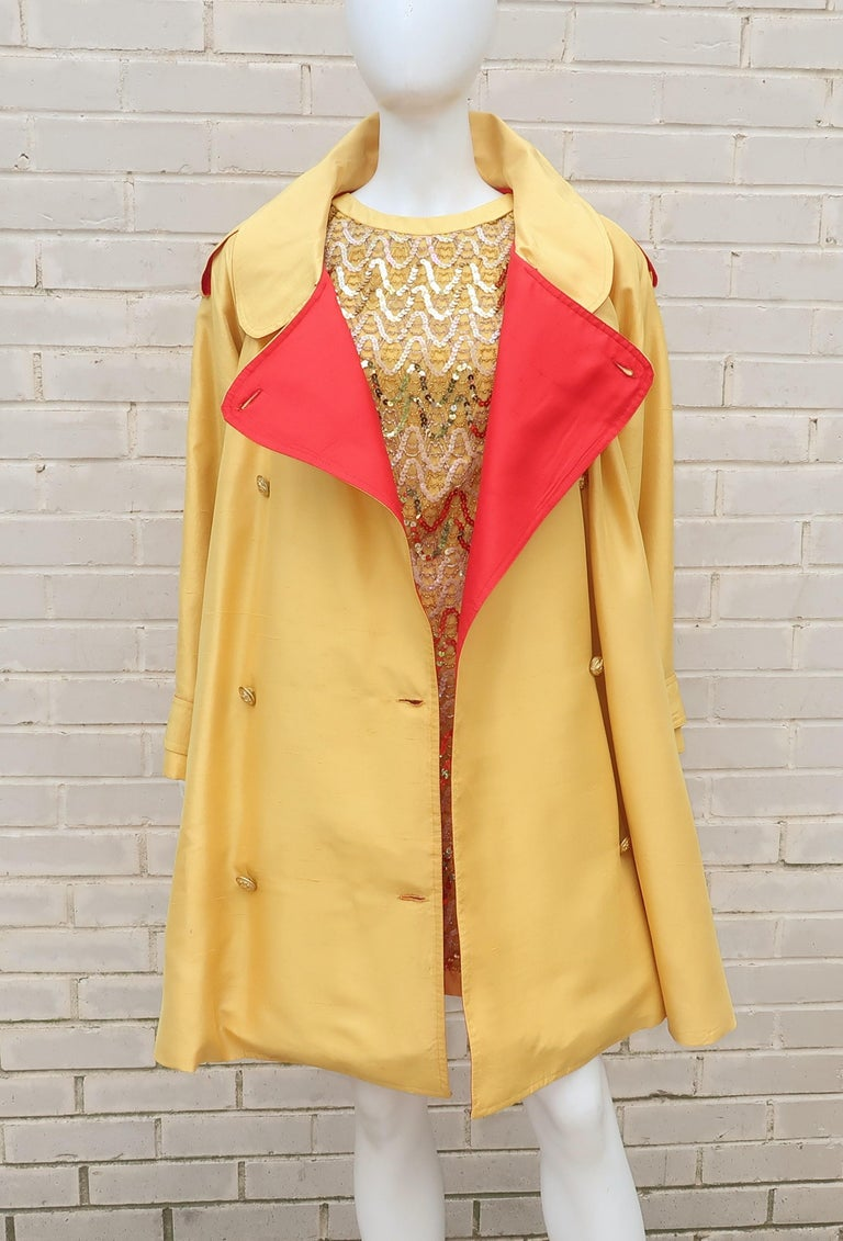 Women's 1980's Yellow & Red Shantung Silk Sequin Dress & Trench Coat Set For Sale