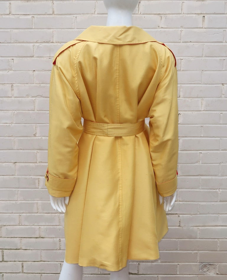 1980's Yellow & Red Shantung Silk Sequin Dress & Trench Coat Set In Good Condition For Sale In Atlanta, GA