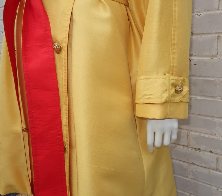 1980's Yellow & Red Shantung Silk Sequin Dress & Trench Coat Set For Sale 5