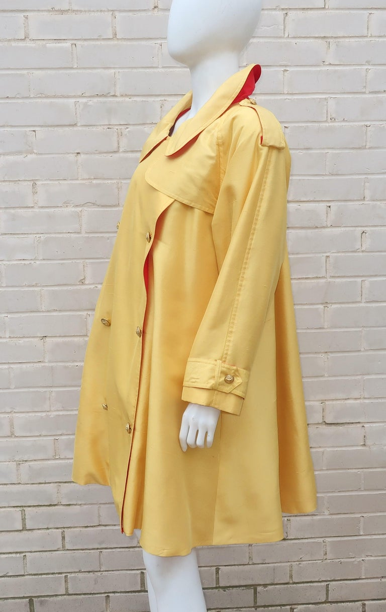 1980's Yellow & Red Shantung Silk Sequin Dress & Trench Coat Set For Sale 6