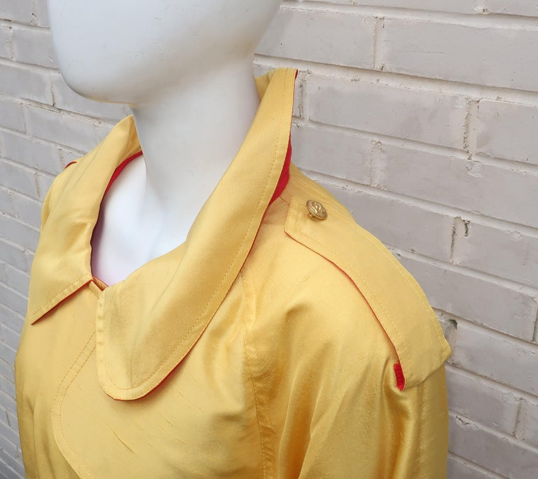 1980's Yellow & Red Shantung Silk Sequin Dress & Trench Coat Set For Sale 4