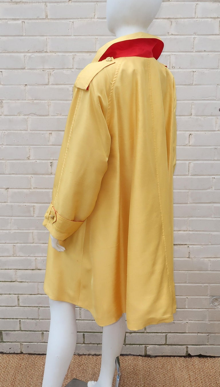 1980's Yellow & Red Shantung Silk Sequin Dress & Trench Coat Set For Sale 7