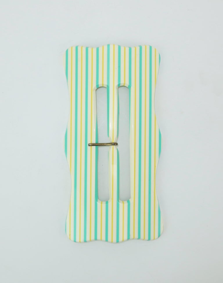 C.1970 Extra Large Pop Mod French Striped Plastic Belt Buckle For ...