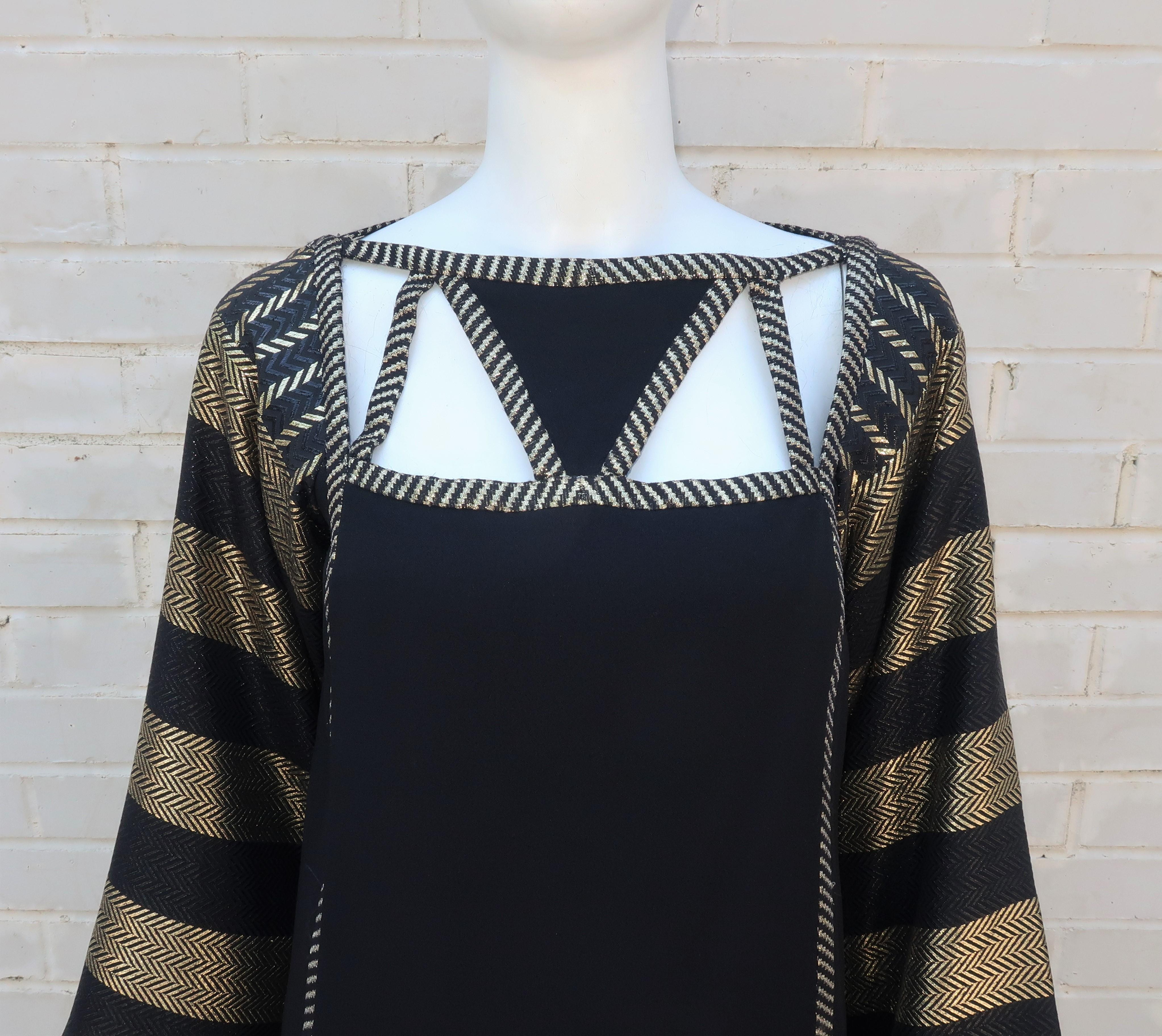 a75ef729509 1970's Bob Mackie Black and Gold Lamé Art Deco Style Dress Ensemble For  Sale at 1stdibs