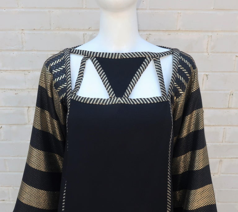 Women's 1970's Bob Mackie Black & Gold Lamé Art Deco Style Dress Ensemble For Sale